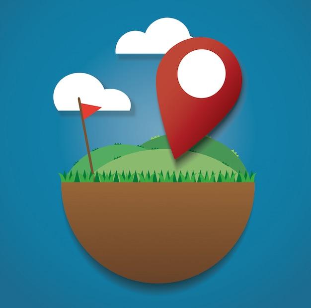 Ícone de localização no campo verde