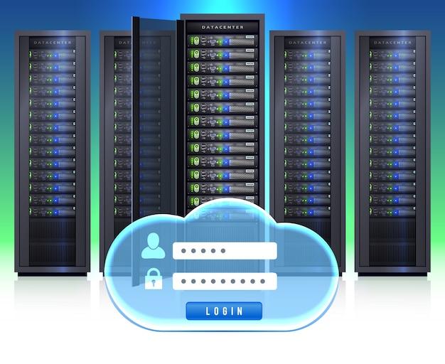 Ícone de login realista de racks de servidor