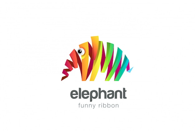Ícone de logotipo abstrato colorido elefante fita.