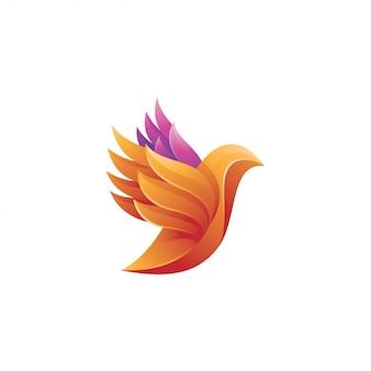 Ícone de logotipo de asa de pássaro colorido