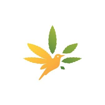 Ícone de logotipo de cannabis de pássaro