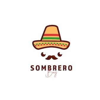 Ícone de logotipo de chapéu sombrero mexicano fofo