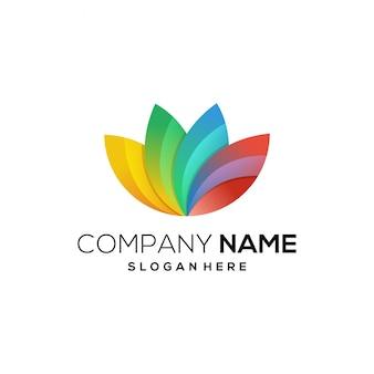Ícone de logotipo de cor cheia de lótus