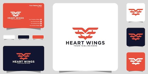 Ícone de logotipo de coração alado e design de cartão de visita