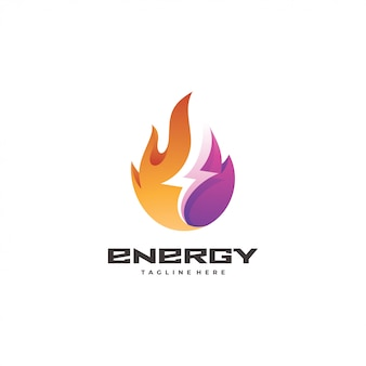 Ícone de logotipo de energia de fogo e relâmpago