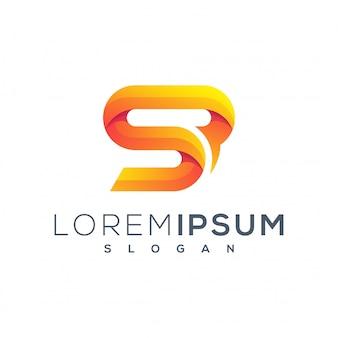 Ícone de logotipo de folha colorida s