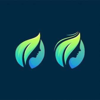 Ícone de logotipo de folha de mulher pronto para usar