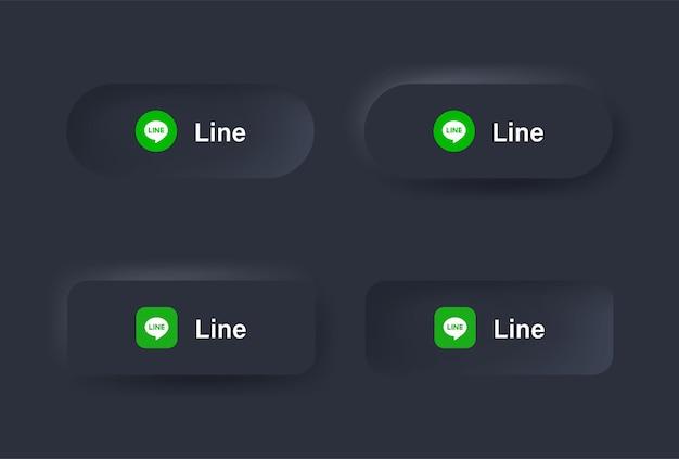 Ícone de logotipo de linha neumórfica em botão preto para logotipos de ícones de mídia social em botões de neumorfismo