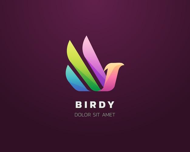 Ícone de logotipo de pássaro abstrato colorido
