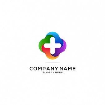 Ícone de logotipo de saúde e cuidados colorfull