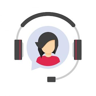 Ícone de logotipo de suporte de serviço ao cliente ou agente de operador de help desk de assistência ao cliente no símbolo de centro de chamada de fone de ouvido ou fones de ouvido plana