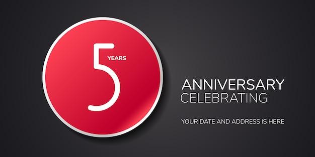Ícone de logotipo de vetor de aniversário de 5 anos elemento de design do modelo com número para cumprimento do 5º aniversário