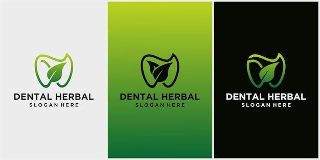 Ícone de logotipo dental e folha, projeto de atendimento odontológico com conceito de ervas, logotipo para dentista, vetor isolado de folha verde e símbolo de dente, adequado para clínica odontológica ou creme dental à base de plantas