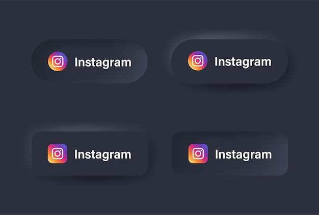 Ícone de logotipo do instagram neumorfo em botão preto para logotipos de ícones de mídia social nos botões de neumorfismo