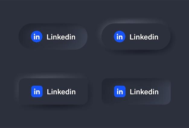 Ícone de logotipo do neumorphic linkedin em botão preto para ícones de mídia social logotipos em botões de neumorfismo
