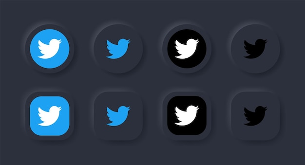 Ícone de logotipo do twitter neumorfo em botão preto para ícones de mídia social logotipos em botões de neumorfismo