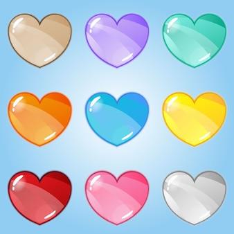 Ícone de logotipo gradiente brilhante de corações.
