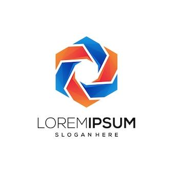 Ícone de logotipo hexago colorido