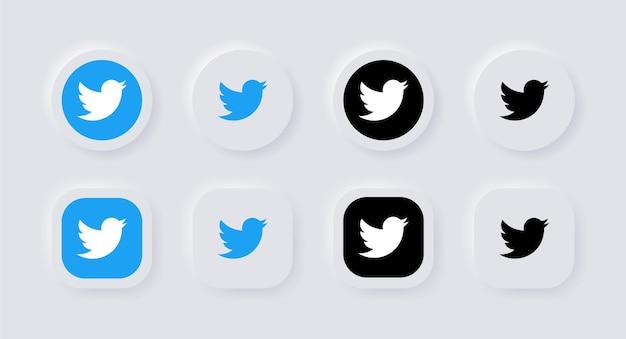 Ícone de logotipo neumórfico do twitter para ícones de mídia social populares logotipos em botões de neumorfismo ui ux