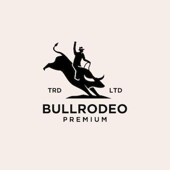 Ícone de logotipo vintage do bull rodeo