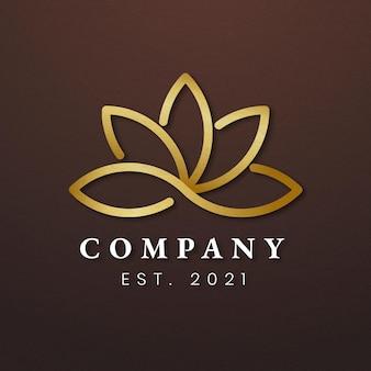 Ícone de lótus dourado do logotipo da empresa de spa
