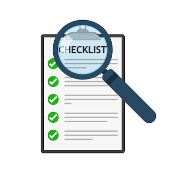 Ícone de lupa e lista de verificação. conceito analítico
