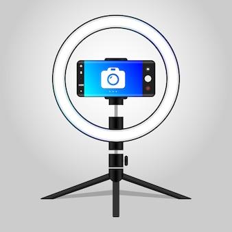 Ícone de luz de anel de foto profissional luz de áudio fotográfico com anel led e ilustração vetorial de suporte