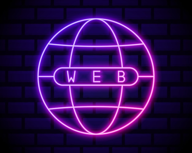 Ícone de luz de néon do globo. sinal brilhante do internet café. modelo esférico da terra. rede global.