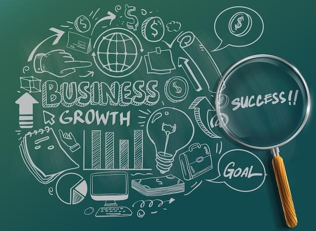 Ícone de mão desenhada do negócio e um monte de elementos de design gráfico de informação e mock up. ideal para ideias de trabalho em equipe, sessões de brainstorming e apresentações de planos de negócios genéricos.