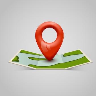 Ícone de mapa de papel com ponteiro de pino