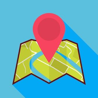Ícone de mapa plano com pino de mapa e sombra longa. ilustração vetorial plana estilizada