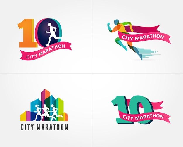 Ícone de maratona e símbolo com número Vetor Premium