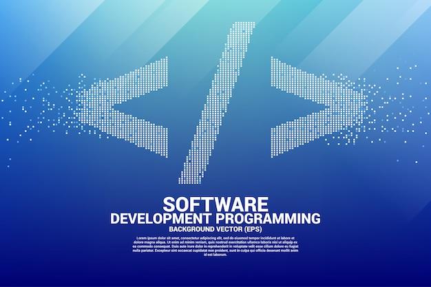Ícone de marca de programação de desenvolvimento de software com pixel de ponto quadrado.
