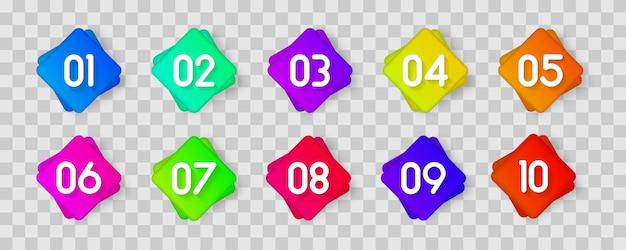 Ícone de marcador de bala com número 1 a 12 para infográfico, apresentação. marcadores 3d coloridos de ponto de bala de número isolados em fundo transparente. cor gradiente de ponto pegajoso.
