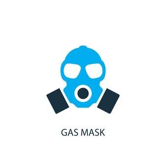 Ícone de máscara de gás. ilustração do elemento do logotipo. projeto do símbolo da máscara de gás de 2 coleções coloridas. conceito de máscara de gás simples. pode ser usado na web e no celular.