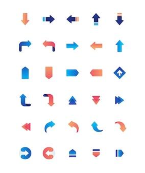 Ícone de material de interface do usuário de seta criativa gradual