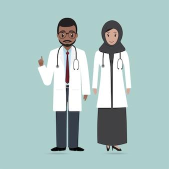 Ícone de médico e enfermeira muçulmano