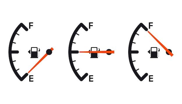 Ícone de medidor de combustível. indicador de gasolina. indicador de combustível. ilustração vetorial
