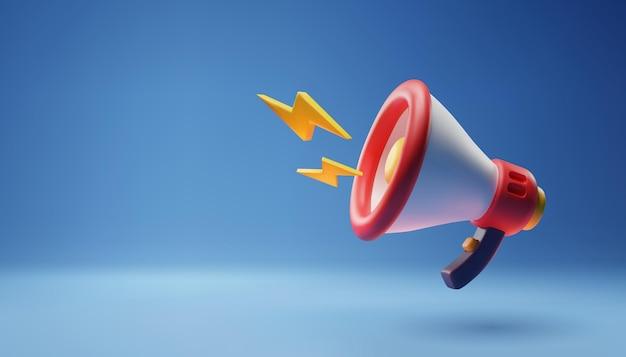 Ícone de megafone 3d no modelo azul para o conceito de banner, anúncio e discurso de promoção online.