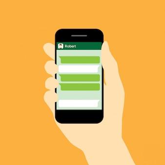 Ícone de mensagem e telefone. conversar na ilustração vetorial de telefone