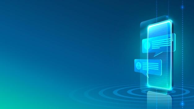Ícone de mensagem eletrônica do telefone, tecnologia de finanças, fundo azul.