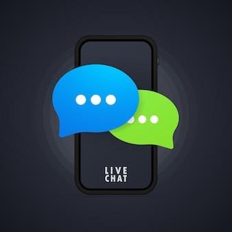 Ícone de mensagem em design plano no smartphone