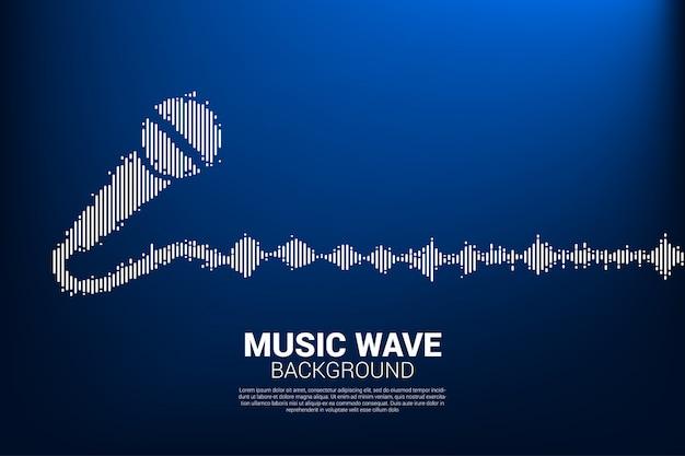 Ícone de microfone de onda sonora fundo do equalizador.