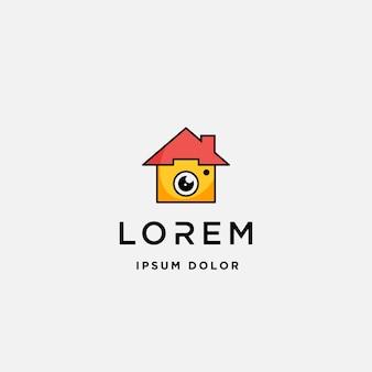 Ícone de modelo de logotipo em casa câmera