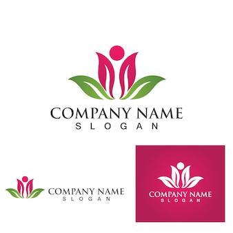 Ícone de modelo do logotipo de design de flores de lótus de vetor de beleza