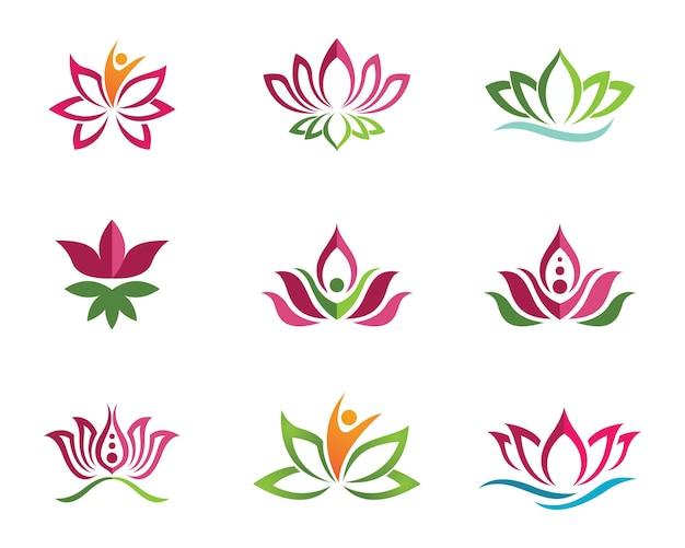 Ícone de modelo do logotipo do vetor de flores de lótus de beleza