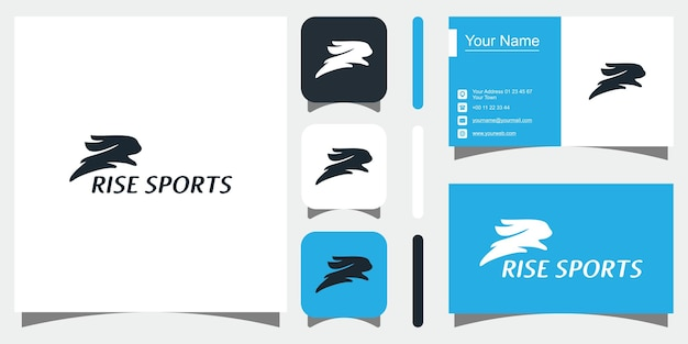 Ícone de modelos de conceito criativo de coelho e cartão de visita premium vector