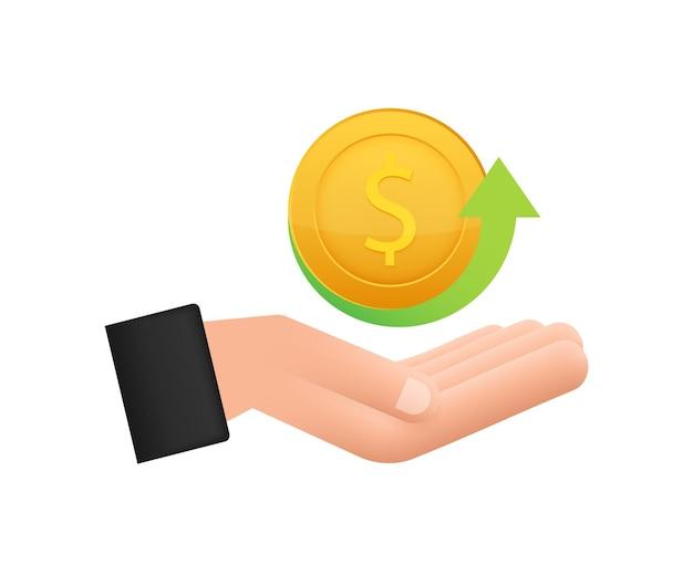 Ícone de moeda de devolução de dinheiro com a mão isolada no fundo branco etiqueta de devolução ou devolução de dinheiro