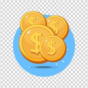Ícone de moeda de dólar em fundo em branco