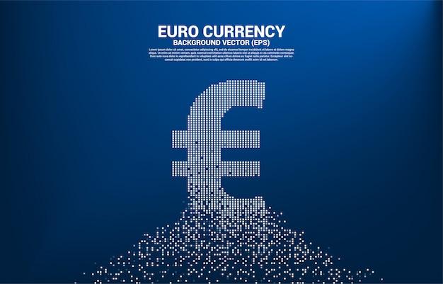 Ícone de moeda euro dinheiro da transformação de pixel.